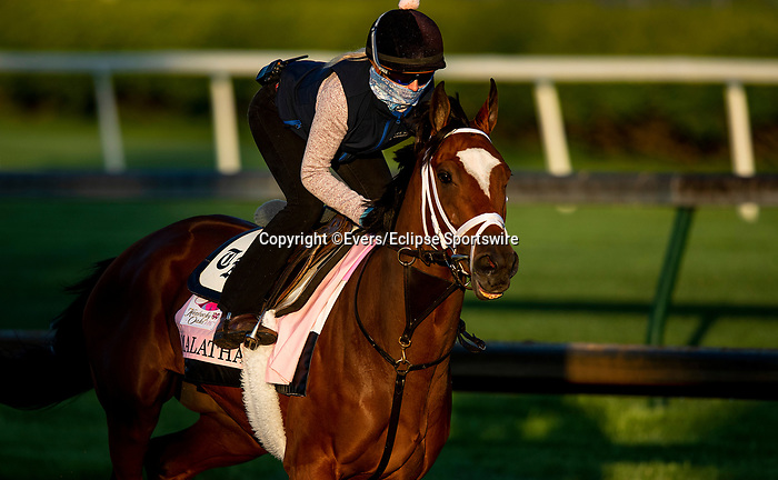 April 26, 2021: Malathaat gallops in preparation for the Kentucky Oaks at Churchill Downs in Louisville, Kentucky on April 26, 2021. EversEclipse Sportswire/CSM