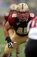 Boston College Eagles linebacker Luke Kuechly (#40) during a game versus the University of Massachusetts Minutemen on September 24, 2011 at Alumni Stadium in Chestnut Hill, Massachusetts. ( Ken Babbitt/Four Seam Images)