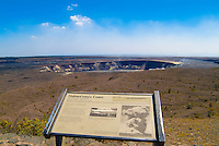 Halema'uma'u Crater and informational sign, before the recent eruption at Hawai'i Volcanoes National Park, Big Island.