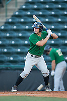 Tyler Moore (2) of the Savannah Sand Gnats pinch hits in the top of the ninth inning during the game against the Hickory Crawdads at L.P. Frans Stadium on June 14, 2015 in Hickory, North Carolina.  The Crawdads defeated the Sand Gnats 8-1.  (Brian Westerholt/Four Seam Images)