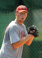 August 1, 2009: LHP Kyle Heim (47) of the Johnson City Cardinals, rookie Appalachian League affiliate of the St. Louis Cardinals, in a game at Howard Johnson Field in Johnson City, Tenn. Photo by: Tom Priddy/Four Seam