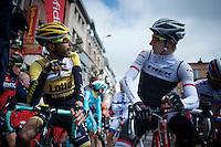 former teammates Laurens ten Dam (NLD/LottoNL-Jumbo) & Bauke Mollema (NLD/Trek Factory Racing) catching up before the start<br /> <br /> 79th Flèche Wallonne 2015