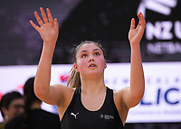 NZ Under-21s Parris Mason during the Cadbury Netball Series match between NZ A and NZ Under-21 at the Fly Palmy Arena in Palmerston North, New Zealand on Saturday, 24 October 2020. Photo: Dave Lintott / lintottphoto.co.nz