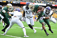 Baylor inside receiver Corey Coleman (1) is tackled by TCU safety Chris Hackett (1) during an NCAA football game, Saturday, October 11, 2014 in Waco, Tex. Baylor defeated TCU 61-58 to remain undefeated in BIG 12 conference. (Mo Khursheed/TFV Media via AP Images)