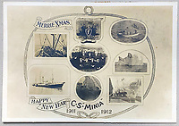 BNPS.co.uk (01202 558833)<br /> Pic: HAldridge/BNPS<br /> <br /> Christmas card from the Minia.<br /> <br /> A poignant cross made from drift wood from the Titanic by a seaman tasked with recovering the bodies from the disaster as surfaced 107 years later.<br /> <br /> The small religious symbol was delicately hand carved by Samuel Smith, a joiner on the cable-laying ship Minia which was tasked with searching for bodies.<br /> <br /> Mr Smith was so moved by the macabre experience that he honoured the victims by creating the wooden cross on a three-tiered plinth.<br /> <br /> He made it from a piece of oak wood he plucked from the ocean that has come from the sunken liner.<br /> <br /> The archive is estimated to sell for £35,000 at H Aldridge in Devizes.