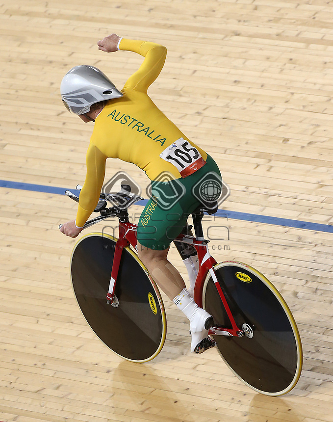 Susan Powell (AUS) wins the Women's C4 Individual Pursuit.<br /> Track Cycling, Velodrome, Olympic Park (Thursday 29th Aug)<br /> Paralympics - Summer / London 2012<br /> London England 29 Aug - 9 Sept <br /> © Sport the library/Joseph Johnson