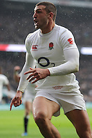 Jonny May of England celebrates scoring in the corner during the Old Mutual Wealth Series match between England and South Africa at Twickenham Stadium on Saturday 12th November 2016 (Photo by Rob Munro)