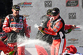 #20: Christopher Bell, Joe Gibbs Racing, Toyota Supra Ruud, celebrates in Victory Lane.