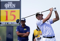 16th July 2021; Royal St Georges Golf Club, Sandwich, Kent, England; The Open Championship Tour Golf, Day Two; Collin Morikawa (USA) hits his driver from the 15th tee