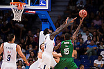 Real Madrid's player Othello Hunter and Unicaja Malaga's player Jamar Smith during match of Liga Endesa at Barclaycard Center in Madrid. September 30, Spain. 2016. (ALTERPHOTOS/BorjaB.Hojas)