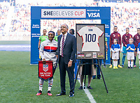 HARRISON, NJ - MARCH 08: Crystal Dunn #19 of the United States stands on the field with Carlos Cordeiro during a game between Spain and USWNT at Red Bull Arena on March 08, 2020 in Harrison, New Jersey.
