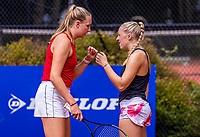 Hilversum, Netherlands, August 5, 2021, Tulip Tennis center, National Junior Tennis Championships 16 and 18 years, NJK, Girls Doubles 18 years, Melissa Boyden (R)  (NED) and Eloise de Mooij (NED)<br /> Photo: Tennisimages/Henk Koster