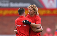 30th August 2020; Kingsholm Stadium, Gloucester, Gloucestershire, England; English Premiership Rugby, Gloucester versus Leicester Tigers; George Ford of Leicester Tigers greets Billy Twelvetrees of Gloucester before kick off
