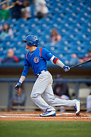 South Bend Cubs second baseman Jhonny Bethencourt (6) hits a single during the first game of a doubleheader against the Lake County Captains on May 16, 2018 at Classic Park in Eastlake, Ohio.  South Bend defeated Lake County 6-4 in twelve innings.  (Mike Janes/Four Seam Images)