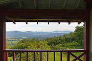 Weeks State Park - View from the porch of the John Wingate Weeks Estate on the summit of Mt. Prospect in Lancaster, New Hampshire. Built in the early 1900s (1912) for John Wingate Weeks, this early 20th-century estate was given to the state of New Hampshire in 1941 by Weeks' children. Also on the summit is the Mount Prospect Tower, which was built by John W. Weeks in 1912; it is still in operation today.