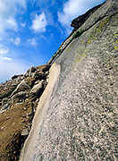 The base of Cannon Cliffs, which is on the side of Cannon Mountain.Located in Franconia Notch, which is in the White Mountains New Hampshire, USA.