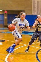 24 November 2015: Yeshiva University Maccabee Guard Ester Kerzner, a Senior from Houston, TX, in action against the College of Mount Saint Vincent Dolphins at the Baruch College ARC Arena Gymnasium, in New York, NY. The Dolphins defeated the Maccabees 67-30 in the NCAA Division III Women's Basketball Skyline matchup. Mandatory Credit: Ed Wolfstein Photo *** RAW (NEF) Image File Available ***