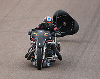 Feb 21, 2020; Chandler, Arizona, USA; NHRA top fuel nitro Harley Davidson motorcycle rider Rickey House during qualifying for the Arizona Nationals at Wild Horse Pass Motorsports Park. Mandatory Credit: Mark J. Rebilas-USA TODAY Sports