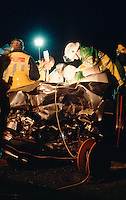 Firefighters, paramedics and doctors attend a road traffic accident. The driver is still trapped in the vehicle at this stage and the doctors are operating to enable the driver to be extricated by the fire service...© SHOUT. THIS PICTURE MUST ONLY BE USED TO ILLUSTRATE THE EMERGENCY SERVICES IN A POSITIVE MANNER. CONTACT JOHN CALLAN. Exact date unknown.john@shoutpictures.com.www.shoutpictures.com..