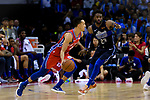 Landry Shamet of 76ers (L) in action during the NBA China Games 2018 match between Dallas Mavericks and Philadelphia 76ers at Universiade Center on October 08 2018 in Shenzhen, China. Photo by Marcio Rodrigo Machado / Power Sport Images