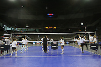Omaha, NE - DECEMBER 20:  (Not in order) Outside hitter Cynthia Barboza #1, middle blocker Janet Okogbaa #2, setter Joanna Evans #3, outside hitter Alex Fisher #5, defensive specialist Katherine Knox #6, middle blocker Jessica Walker #7, outside hitter/setter Cassidy Lichtman #8, libero Gabi Ailes #9, outside hitter Alix Klineman #10, defensive specialist Jessica Fishburn #11, outside hitter Erin Waller #12, defensive specialist Katherine Sebastian #14, middle blocker Stephanie Browne #15, middle blocker Foluke Akinradewo #16, head coach John Dunning, associate head coach Denise Corlett, assistant coach Jason Mansfield, volunteer assistant coach Chris Muscat, and director of volleyball operations Cobey Shoji of the Stanford Cardinal during Stanford's 2008 NCAA Division I Women's Volleyball Final Four Championship closed practice before playing the Penn State Nittany Lions on December 20, 2008 at the Qwest Center in Omaha, Nebraska.