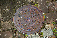 New Orleans, Louisiana.  Water Meter Box Cover, Manufactured by Ford Meter Box Company of Wabash, Indiana in the 1920s.