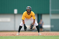 FCL Pirates Gold Jasiah Dixon (6) leads off first base during a game against the FCL Red Sox on July 1, 2021 at Pirate City in Bradenton, Florida.  (Mike Janes/Four Seam Images)