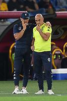 3rd October 2021; Stadio Olimpico, Rome, Italy; Serie A football, AS Roma versus Empoli; Aurelio Andreazzoli  coach of FC Empoli talks tactics with Giacomo Lazzini assistant coach