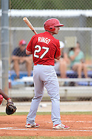 St. Louis Cardinals first baseman Justin Ringo (27) during a minor league spring training intrasquad game on March 28, 2014 at the Roger Dean Stadium Complex in Jupiter, Florida.  (Mike Janes/Four Seam Images)