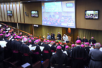 Pope Francis attends the second session of 'The Protection Of Minors In The Church' meeting at the Synod Hall on February 22, 2019 in Vatican City,