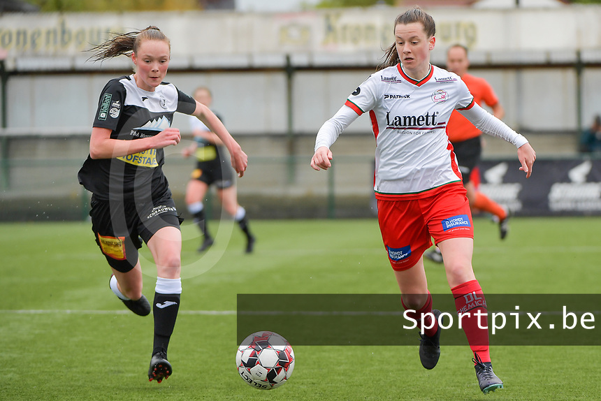 Summer Rogiers (8) of Zulte Waregem and Loes Van Mullem (33) of Eendracht Aalst  pictured during a female soccer game between SV Zulte - Waregem and Eendracht Aalst on the 9 th matchday in play off 2 of the 2020 - 2021 season of Belgian Scooore Womens Super League , saturday 22 nd of May 2021  in Zulte , Belgium . PHOTO SPORTPIX.BE | SPP | DIRK VUYLSTEKE
