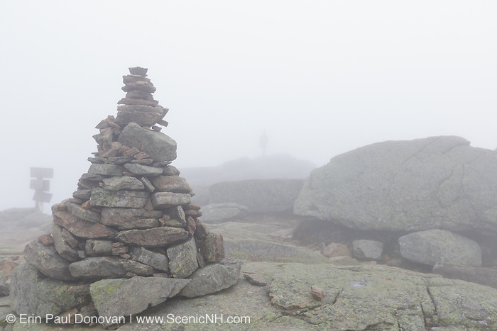 Appalachian Trail (Franconia Ridge Trail) on the summit of Mount Lafayette in the White Mountains, New Hampshire USA in foggy conditions during the autumn months.