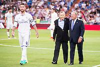 Real Madrid's player Sergio Ramos with Paco Gento and Raymond Kopa during the XXXVII Santiago Bernabeu Trophy in Madrid. August 16, Spain. 2016. (ALTERPHOTOS/BorjaB.Hojas) /NORTEPHOTO