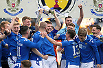 St Johnstone v Hibs…22.05.21  Scottish Cup Final Hampden Park<br />Jason Kerr lifts the Scottish Cup after defeating Hibs 1-0<br />Picture by Graeme Hart.<br />Copyright Perthshire Picture Agency<br />Tel: 01738 623350  Mobile: 07990 594431