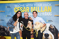 """LOS ANGELES - JULY 30: Calvin, Cesar and Andre Millan  attend the premiere event for National Geographic's """"Cesar Millan: Better Human, Better Dog"""" at the Westfield Century City Mall Atrium on July 30, 2021 in Los Angeles, California. (Photo by Stewart Cook/National Geographic/PictureGroup)"""
