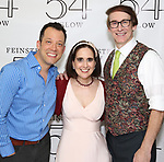 John Tartaglia, Stephanie D'Abruzzo and Rick Lyon backstage at the 'Avenue Q' 15th Anniversary Reunion Concert at Feinstein's/54 Below on July 30, 2018 in New York City.