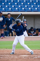 AZL Brewers shortstop Jean Carmona (5) at bat against the AZL Padres 2 on September 2, 2017 at Maryvale Baseball Park in Phoenix, Arizona. AZL Brewers defeated the AZL Padres 2 2-0. (Zachary Lucy/Four Seam Images)