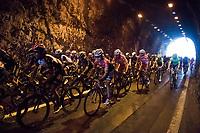 Kiel Reijnen (USA/Trek-Segafredo) in the peloton through the Capo Noli tunnel<br /> <br /> 108th Milano - Sanremo 2017