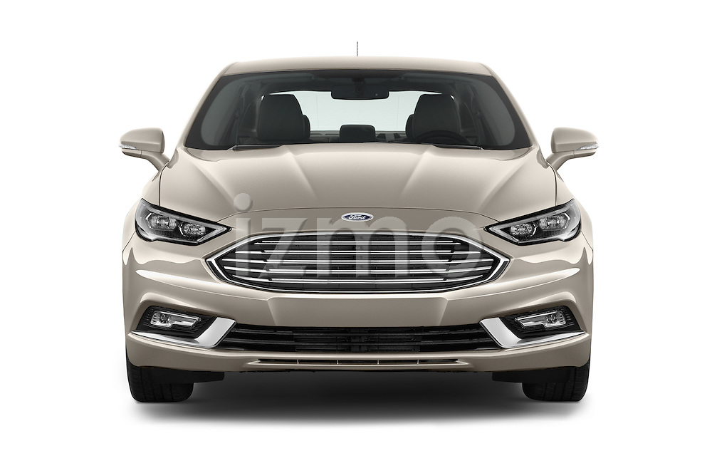 Car photography straight front view of a 2017 Ford Fusion Energi Plug-In Hybrid SE Luxury 4 Door Sedan Front View