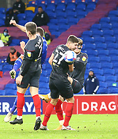 26th December 2020; Cardiff City Stadium, Cardiff, Glamorgan, Wales; English Football League Championship Football, Cardiff City versus Brentford; Will Vaulks of Cardiff City shoots through traffic to score his sides second goal making it 2-3 in the 76th minute