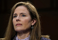 United States Supreme Court nominee Amy Coney Barrett participates in the third day of her Senate Judiciary Committee confirmation hearing on Capitol Hill on October 14, 2020 in Washington, DC. Barrett was nominated by President Donald Trump to fill the vacancy left by Justice Ruth Bader Ginsburg who passed away in September. <br /> CAP/MPI/RS<br /> ©RS/MPI/Capital Pictures