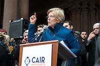 Senator Elizabeth Warren at 3Rally Anti Trump Muslim Ban and immigration restrictions at Copley Plaza Boston ,MA 1.29.17