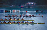 """Rowing, FISA Rowing World Championships, Lac Aiguebelette,  France, Europe, United States men's eight winning gold at the finish, 1997 Note the disturbed water or """"bubble line"""" that marks the finish line and enables accurate photo finishes.."""