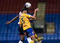 Bolton Wanderers' Peter Kioso competing with Mansfield Town's Malvind Benning (right) <br /> <br /> Photographer Andrew Kearns/CameraSport<br /> <br /> The EFL Sky Bet League Two - Bolton Wanderers v Mansfield Town - Tuesday 3rd November 2020 - University of Bolton Stadium - Bolton<br /> <br /> World Copyright © 2020 CameraSport. All rights reserved. 43 Linden Ave. Countesthorpe. Leicester. England. LE8 5PG - Tel: +44 (0) 116 277 4147 - admin@camerasport.com - www.camerasport.com