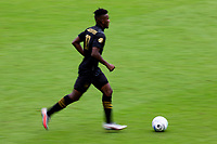 LOS ANGELES, CA - OCTOBER 25: Jose Cifuentes #11 of LAFC moves with the ball during a game between Los Angeles Galaxy and Los Angeles FC at Banc of California Stadium on October 25, 2020 in Los Angeles, California.