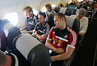 Wednesday 07 August 2013<br /> Pictured L-R: Gerhard Tremmel, Leon Britton and Lee Trundle en route to Malmo.<br /> Re: Swansea City FC travelling to Sweden for their Europa League 3rd Qualifying Round, Second Leg game against Malmo.