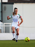 Marith De Bondt (31) of OHL gives a pass during a female soccer game between Oud Heverlee Leuven and Racing Genk on the 14 th matchday of the 2020 - 2021 season of Belgian Womens Super League , sunday 28 th of February 2021  in Heverlee , Belgium . PHOTO SPORTPIX.BE | SPP | SEVIL OKTEM