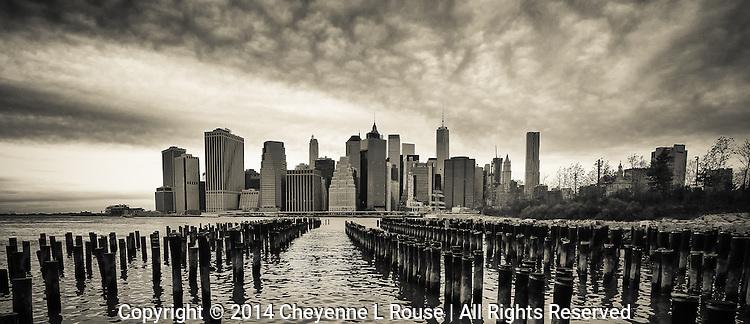 New York City Skyline (Sepia) - Brooklyn Bridge Park