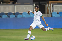 SAN JOSE, CA - SEPTEMBER 19: Jeremy Ebobisse #17 of the Portland Timbers takes a shot during a game between Portland Timbers and San Jose Earthquakes at Earthquakes Stadium on September 19, 2020 in San Jose, California.