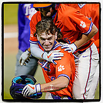 Freshman Noah Stout (99) of the Clemson Tigers Orange Team is greeted by teammates after hitting a three-run home run in Game 1 of the Orange-Purple intrasquad scrimmage series on Friday, November 20, 2020, at Doug Kingsmore Stadium in Clemson, South Carolina. Orange won, 9-2. (Tom Priddy/Four Seam Images)